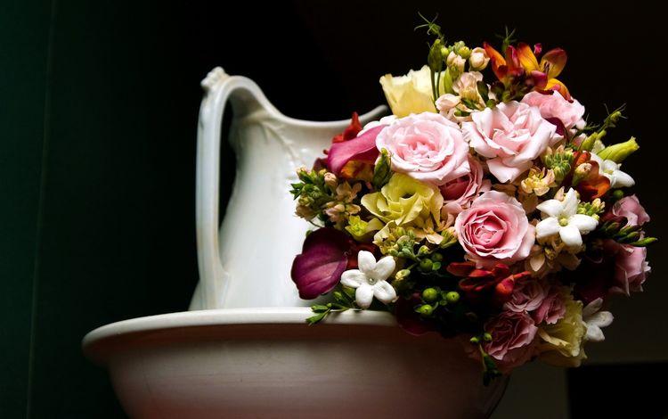 темный фон, букет, кувшин, the dark background, bouquet, pitcher