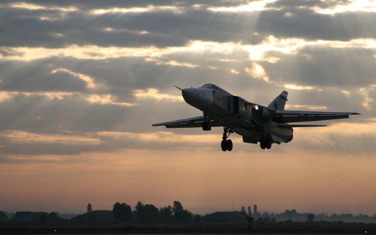 самолет, su 24m, bombardirovshhik, vzlet po nochnomu, the plane