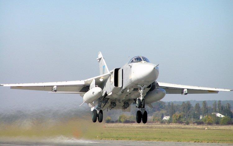 самолет, su 24m, bombardirovshhik, vylet na, the plane