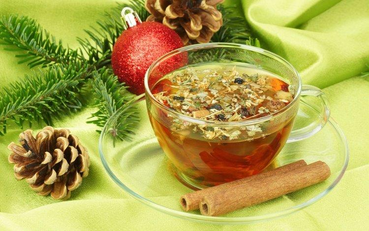 ветка, встреча нового года, еловая ветка, новый год, елочная, корица, ель, шарик, чашка, чай, шишки, branch, spruce branch, new year, christmas, cinnamon, spruce, ball, cup, tea, bumps