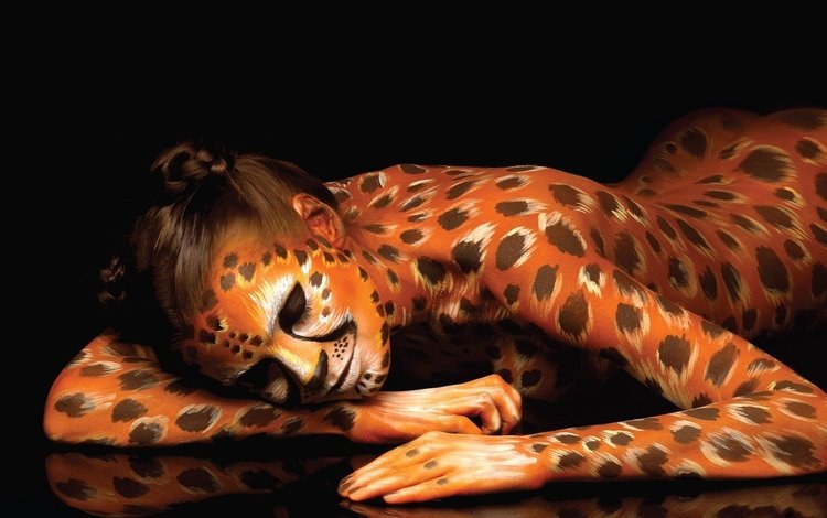 girl, cheetah, body art, painted woman, avant-garde art