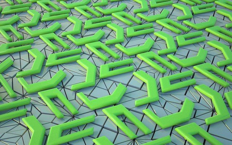 абстракция, зелёный, узор, форма, фигуры, поверхность, пазл, головоломка, 3д, 3d, abstraction, green, pattern, form, figure, surface, puzzle