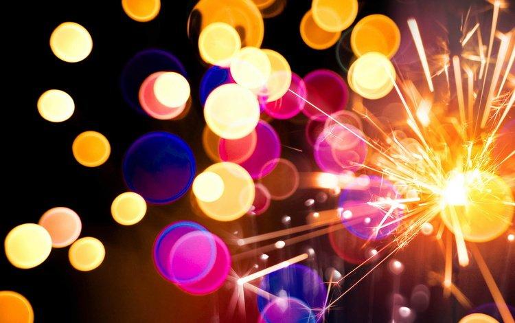 holiday, sparks, bokeh, sparklers