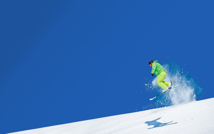 небо, горы, снег, прыжок, спорт, лыжник, лыжи, the sky, mountains, snow, jump, sport, skier, ski
