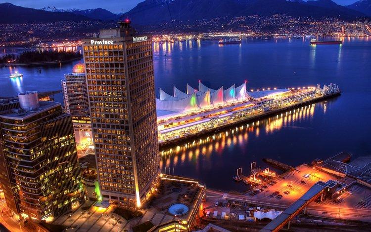 the evening, mountains, sea, the city, pier, bay, home, night city, promenade, vancouver, building, marina, canada