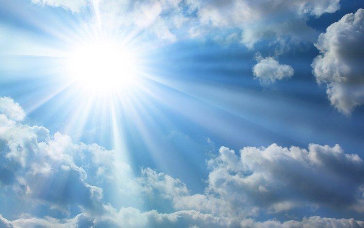 the sky, light, the sun, nature, rays, morning, heaven, blue, beautiful sky