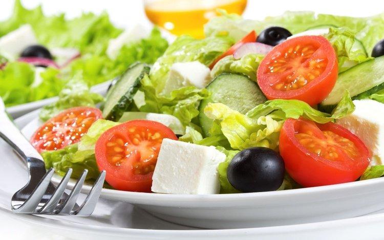 помидоры, салат, маслины, огурцы, греческий, сыр фета, лук-шалот, tomatoes, salad, olives, cucumbers, greek, feta cheese, shallots