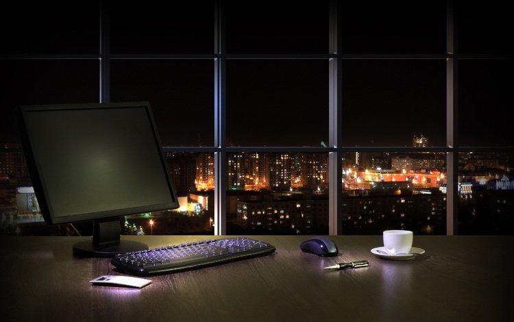 ночь, интерьер, рабочий стол, окно, компьютер, кабинет, городской пейзаж, night, interior, desk, window, computer, office, the urban landscape