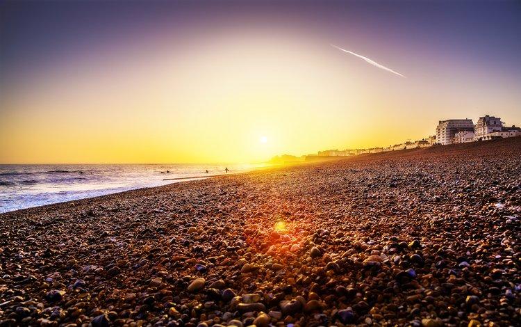 берег, закат, море, shore, sunset, sea