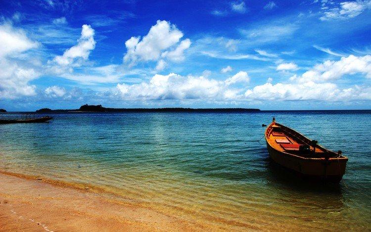 берег, море, лодка, shore, sea, boat