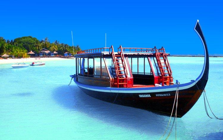 пляж, лодка, остров, тропики, мальдивы, beach, boat, island, tropics, the maldives