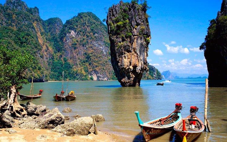 скалы, лодки, таиланд, тропики, rocks, boats, thailand, tropics