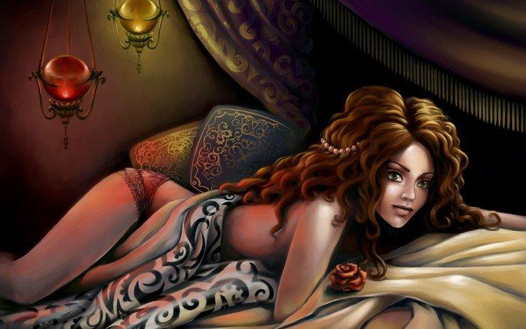 арт, жемчуг, фонари, кудрявые волосы, девушка, поза, взгляд, лежит, зеленые глаза, украшение, art, pearl, lights, curly hair, girl, pose, look, lies, green eyes, decoration