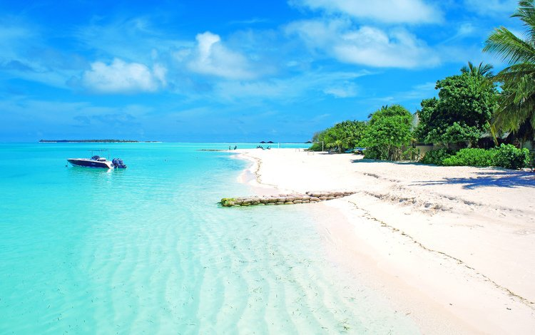 море, пляж, лодка, тропики, sea, beach, boat, tropics
