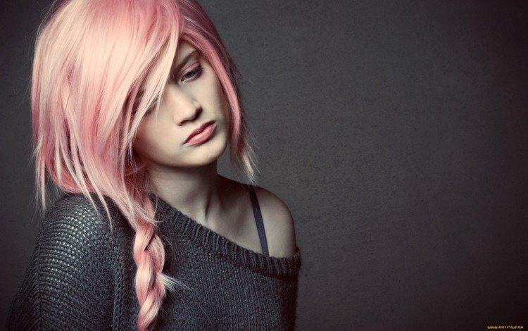 девушка, настроение, портрет, взгляд, модель, лицо, розовые волосы, girl, mood, portrait, look, model, face, pink hair