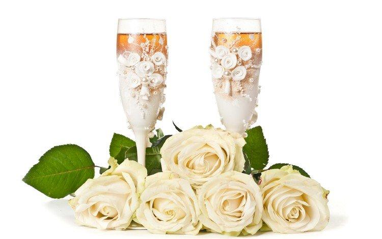 цветы, розы, белые, бокалы, праздник, шампанское, flowers, roses, white, glasses, holiday, champagne