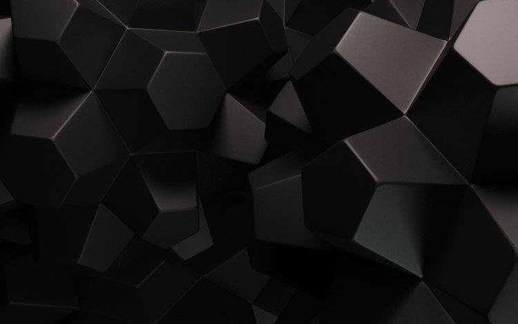 абстракция, фон, полет, черный, кубы, грани, рендер, поверхность. 3d-графика, abstraction, background, flight, black, cuba, faces, render, surface. 3d graphics