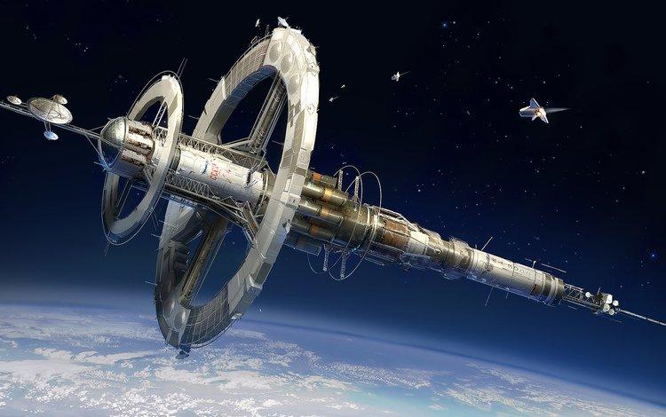 арт, станция, космос, планета, корабль, орбита, art, station, space, planet, ship, orbit