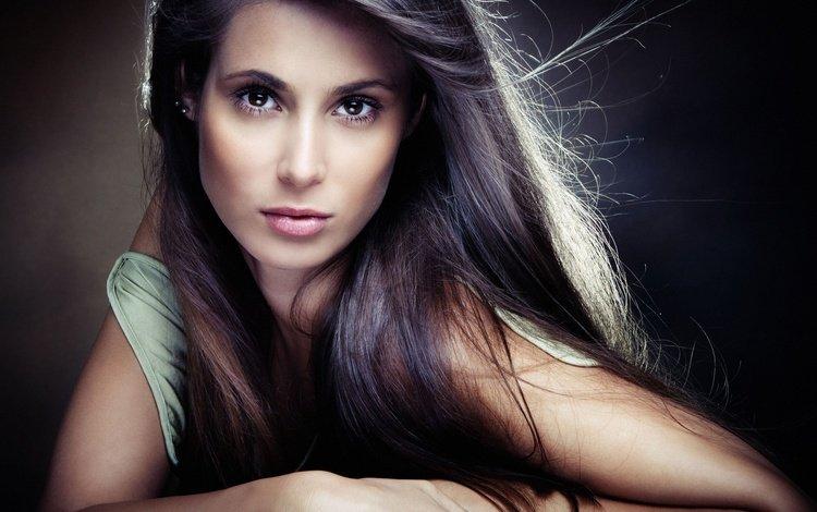 девушка, портрет, брюнетка, взгляд, волосы, лицо, girl, portrait, brunette, look, hair, face