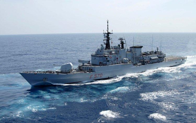 небо, волны, флот, корабль, боевой, полный ход, чистое, the sky, wave, navy, ship, combat, full course, clean