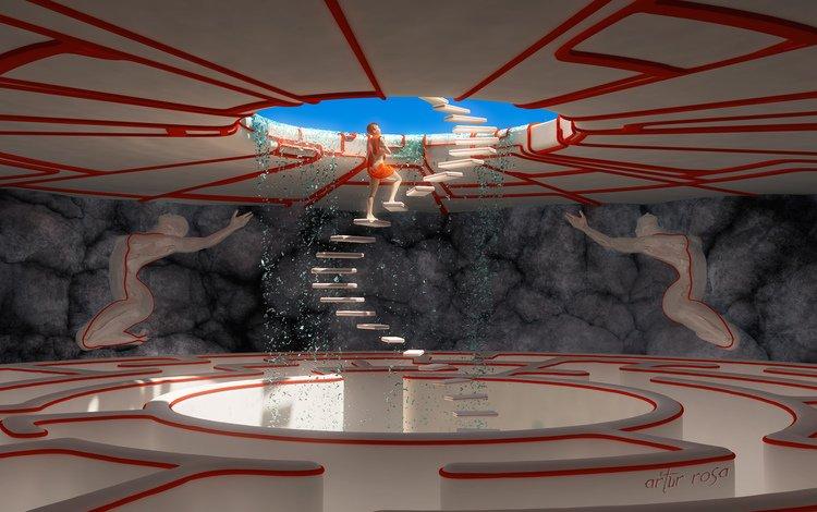 арт, вода, лестница, девушка, ступени, проем, 3d.накидка, art, water, ladder, girl, stage, opening, 3d.cape