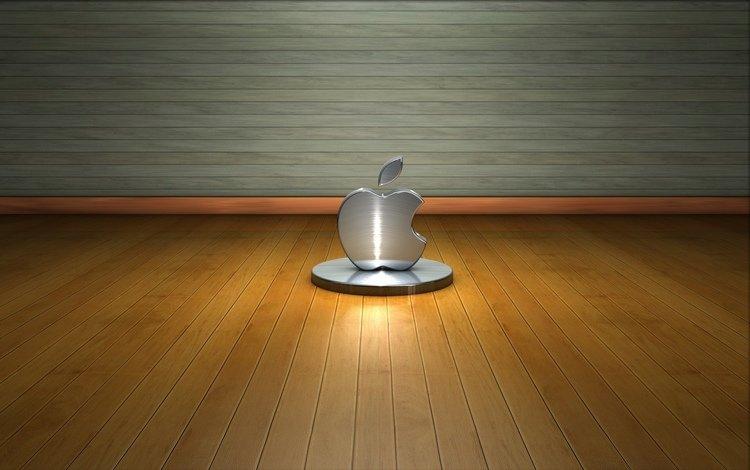 дерево, стена, пол, лого, метал, hi-tech, эппл, tree, wall, floor, logo, metal, apple