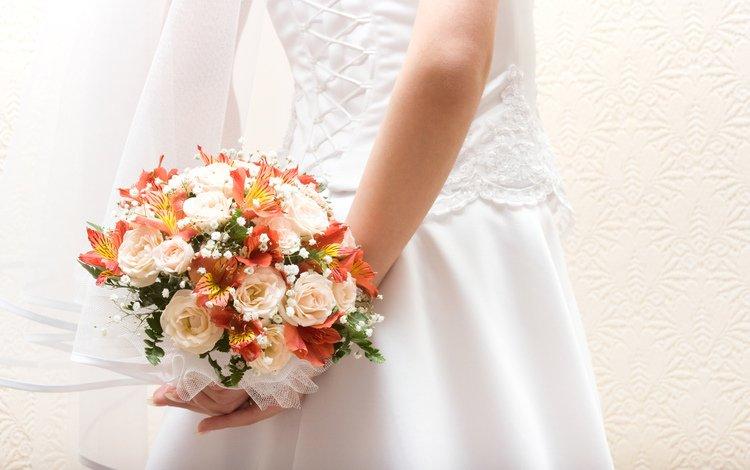 цветы, платье, букет, невеста, фата, шнуровка, flowers, dress, bouquet, the bride, veil, lacing