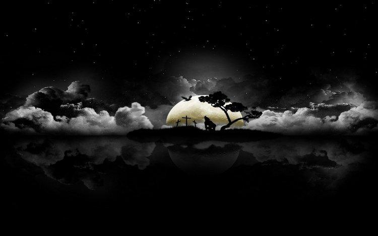 остров на фоне луны, the island on the moon
