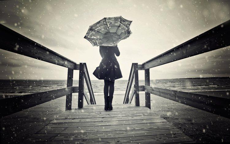 снег, девушка, зонт, ветер, чб, snow, girl, umbrella, the wind, bw
