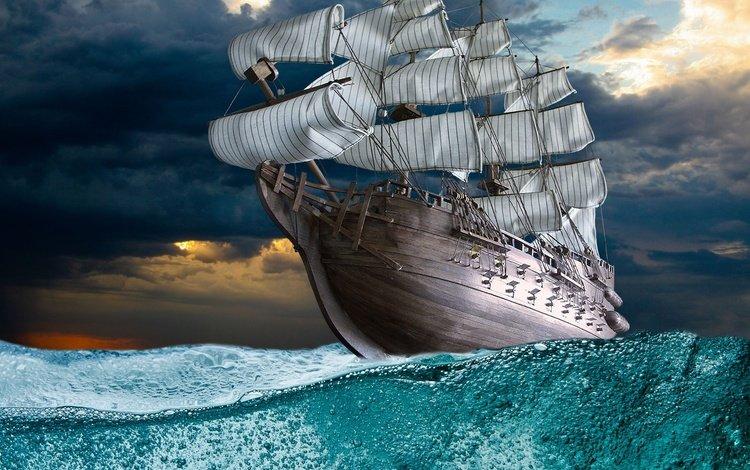 море, парусник, фрегат, sea, sailboat, frigate