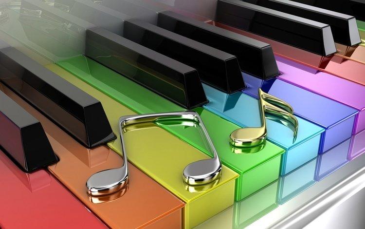 ноты, цветные, пианино, клавиши, notes, colored, piano, keys