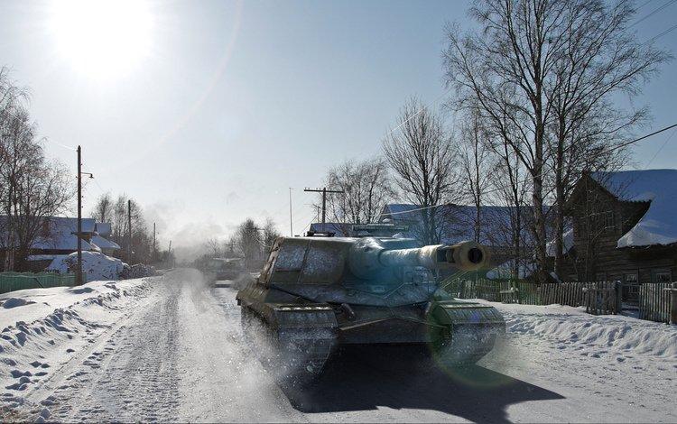 снег, зима, деревня, объект 268, snow, winter, village, object 268