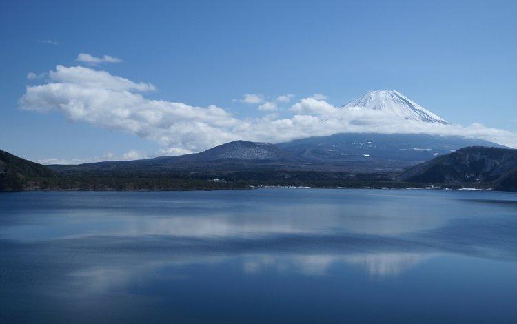 облака, озеро, гора, япония, фудзияма, clouds, lake, mountain, japan, fuji
