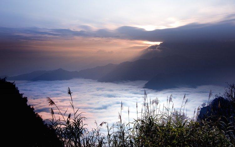 небо, горы, туман, тайвань, дымка, the sky, mountains, fog, taiwan, haze