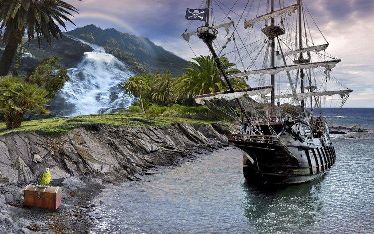камни, море, корабль, попугай, сундук, stones, sea, ship, parrot, chest
