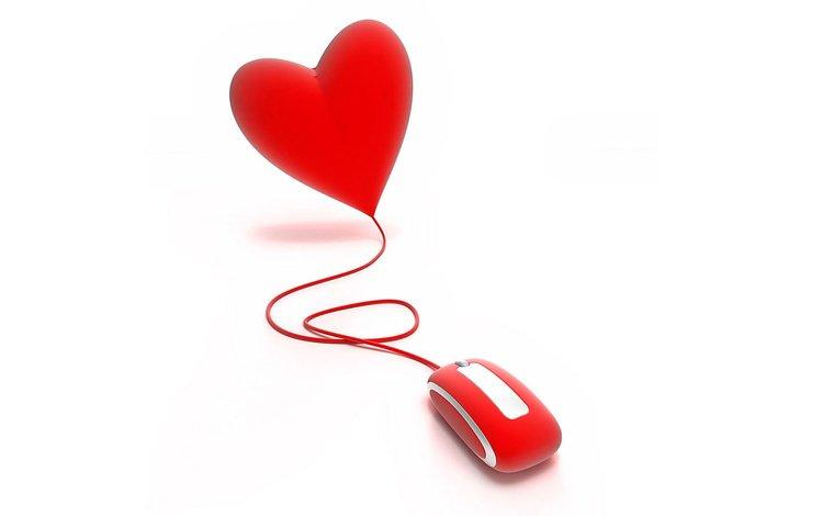 сердце, мышь, провод, красное, heart, mouse, wire, red