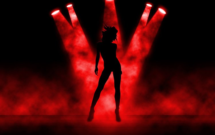 девушка, силуэт, свет. 3d, girl, silhouette, light. 3d