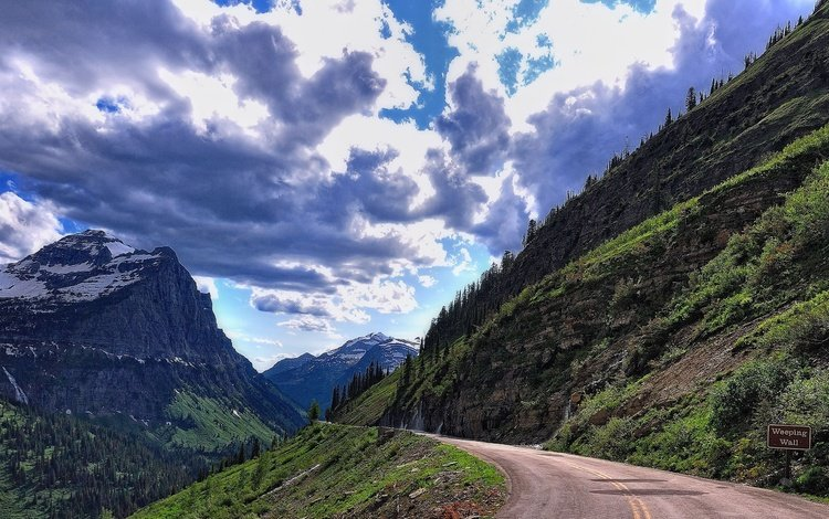 небо, дорога, облака, горы, пейзаж, the sky, road, clouds, mountains, landscape