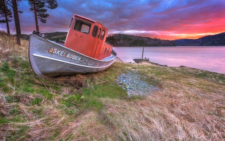 река, берег, закат, пейзаж, лодка, норвегия, river, shore, sunset, landscape, boat, norway