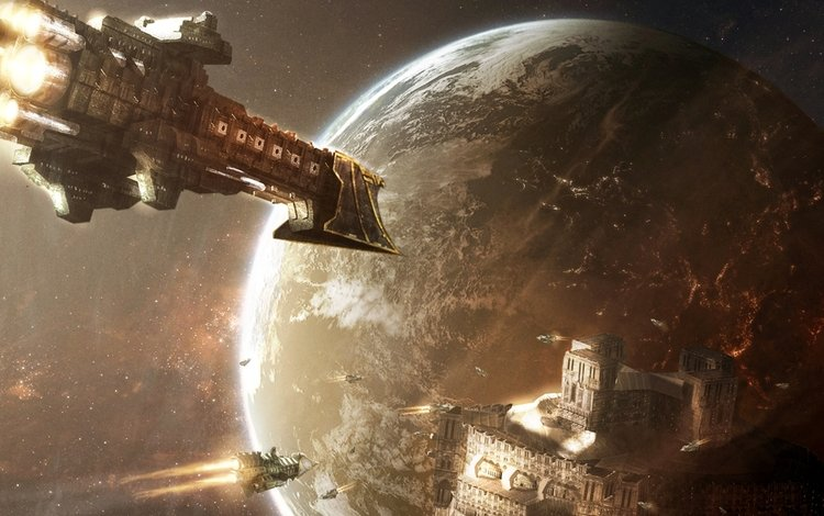 космос, корабли, планеты, warhammer, 40000, space, ships, planet