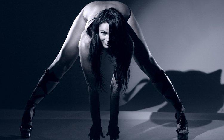 брюнетка, в сексуальной позе, широко раздвинула ноги, светотень, sex., brunette, in sexy pose, widely spread her legs, chiaroscuro