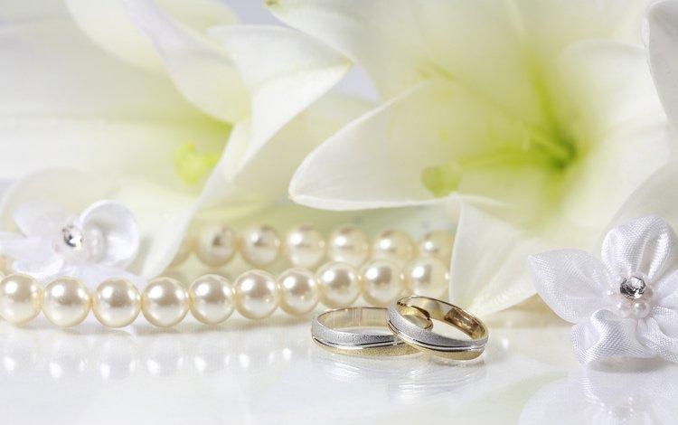 кольца, свадьба, лилии, жемчуг, ring, wedding, lily, pearl