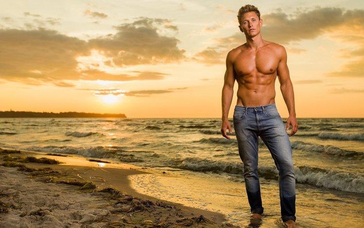 парень, джинсы, прибой, тело, guy, jeans, surf, body