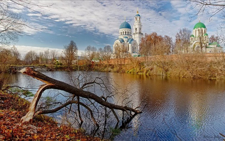 деревья, река, природа, желтый, храм, пейзаж, trees, river, nature, yellow, temple, landscape