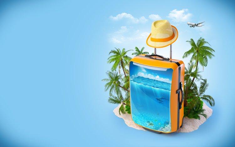 облака, чемодан, самолет, курорт., море, пальмы, креатив, отдых, шляпа, дельфины, clouds, suitcase, the plane, resort., sea, palm trees, creative, stay, hat, dolphins