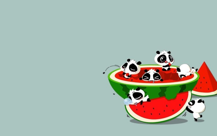 art, the situation, panda, anime, watermelon, m