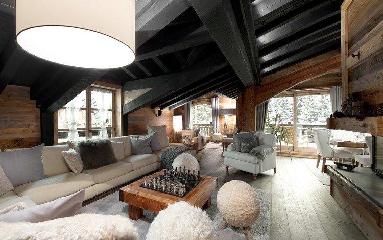 окна, диваны, столик, windows, sofas, table