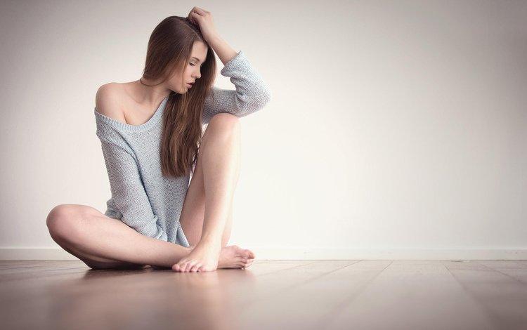 девушка, фото, поза, модель, пол, кофта, girl, photo, pose, model, floor, jacket