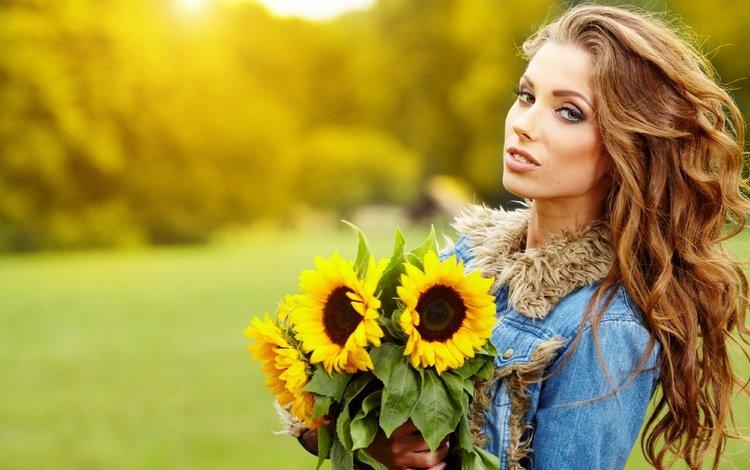 девушка, красавица, букет, подсолнухи, шатенка, izabela magier, girl, beauty, bouquet, sunflowers, brown hair