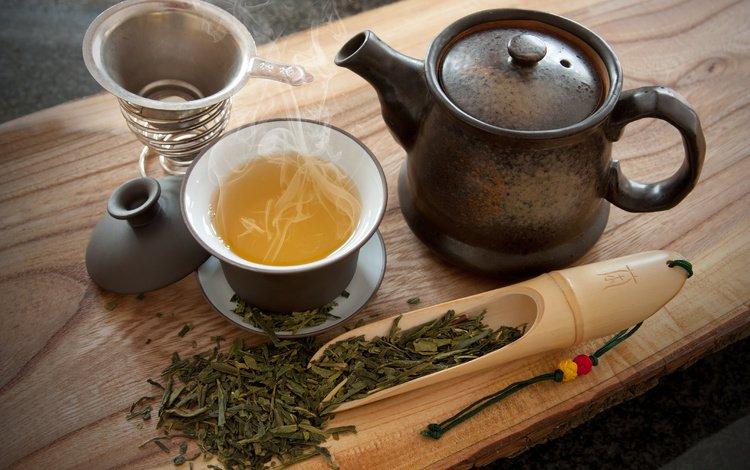 зелёный, чай, чайник, пар, заварка, пиала, green, tea, kettle, couples, welding, bowl